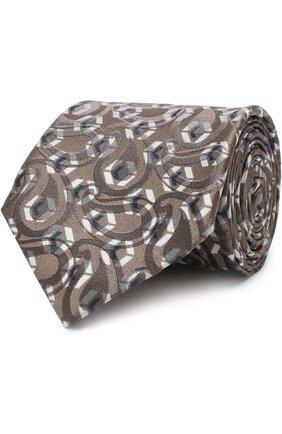 Мужской шелковый галстук с узором GIORGIO ARMANI бежевого цвета, арт. 360054/8A801 | Фото 1