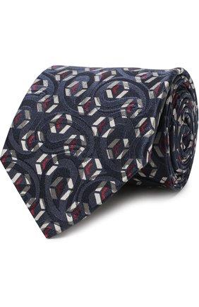 Мужской шелковый галстук с узором GIORGIO ARMANI синего цвета, арт. 360054/8A801 | Фото 1