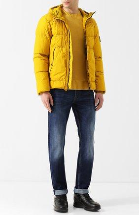 Куртка на молнии с капюшоном Stone Island желтая | Фото №1