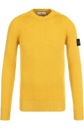 Шерстяной свитер фактурной вязки Stone Island желтый | Фото №1