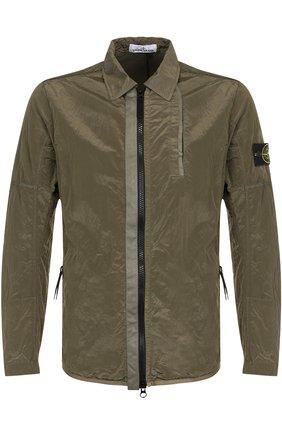 Куртка на молнии с отложным воротником Stone Island хаки | Фото №1