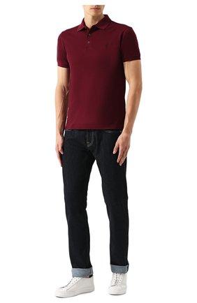 Мужское хлопковое поло POLO RALPH LAUREN бордового цвета, арт. 710541705 | Фото 2