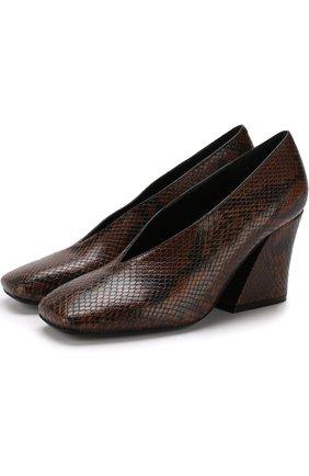 Кожаные туфли на массивном каблуке Dries Van Noten коричневые   Фото №1