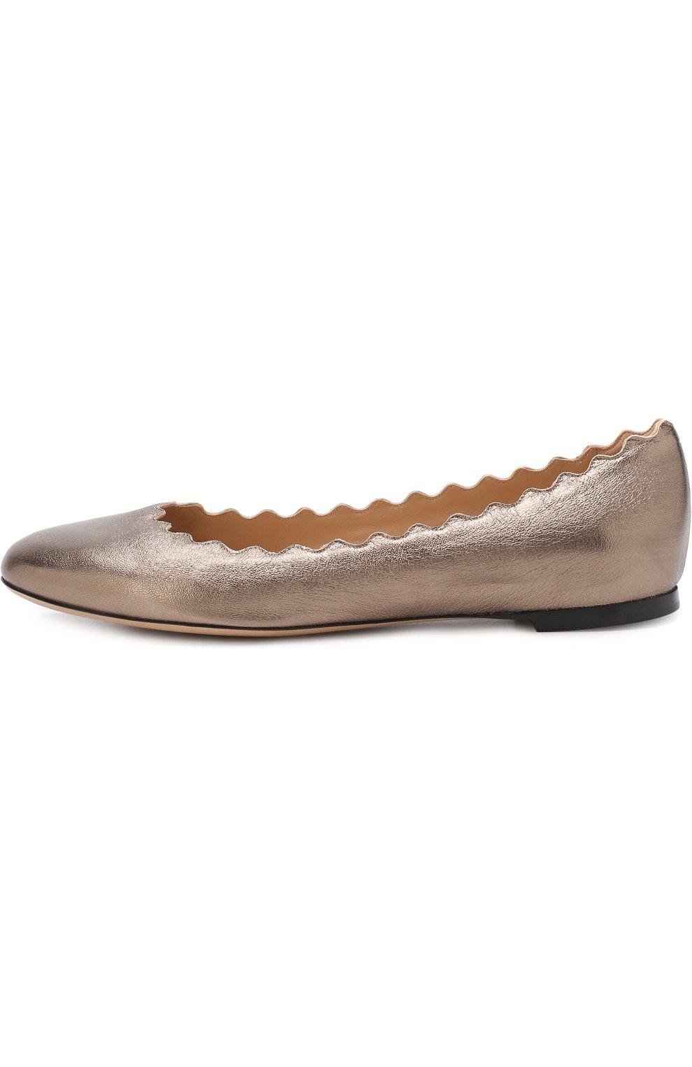 Женские балетки lauren из металлизированной кожи  CHLOÉ серебряного цвета, арт. CHC16U16070 | Фото 3
