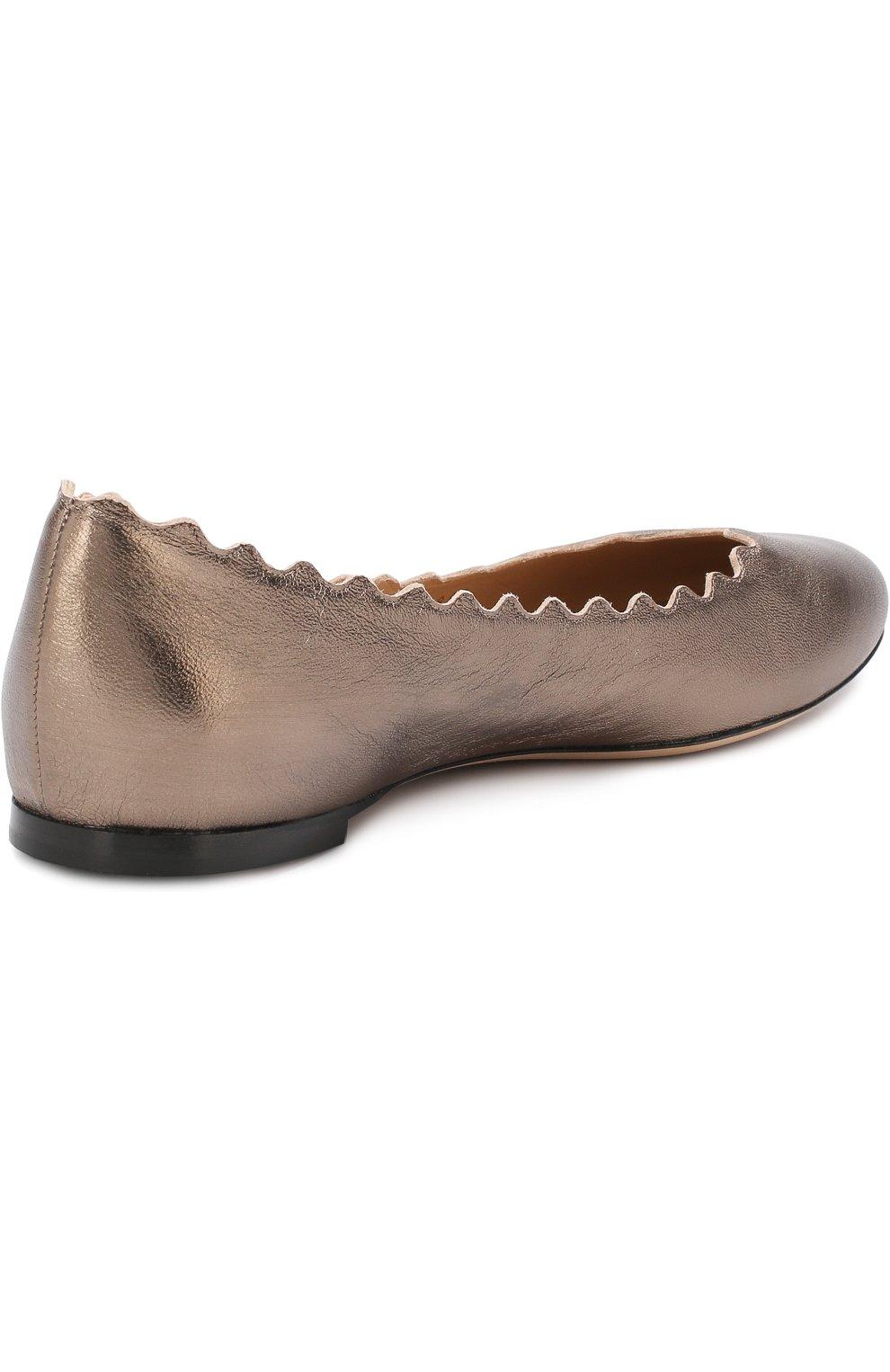 Женские балетки lauren из металлизированной кожи  CHLOÉ серебряного цвета, арт. CHC16U16070 | Фото 4