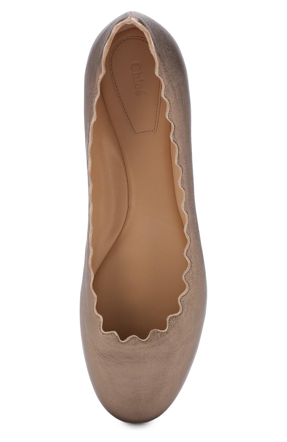 Женские балетки lauren из металлизированной кожи  CHLOÉ серебряного цвета, арт. CHC16U16070 | Фото 5