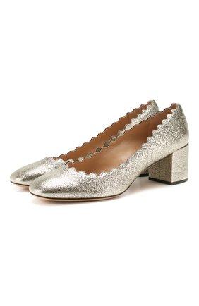 Женская кожаные туфли lauren CHLOÉ серебряного цвета, арт. CHC17S23046 | Фото 1