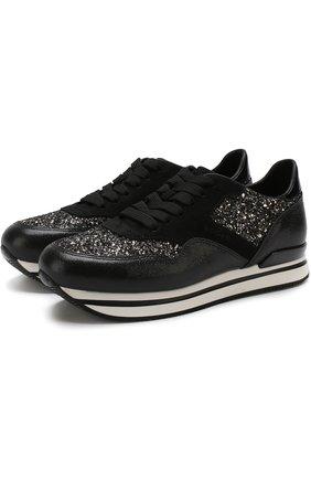 Комбинированные кроссовки с глиттером на шнуровке Hogan черные | Фото №1