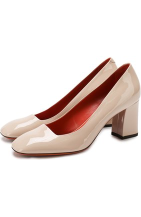 Лаковые туфли на устойчивом каблуке Santoni бежевые | Фото №1