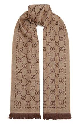 Женский шерстяной шарф GUCCI коричневого цвета, арт. 133483/3G200   Фото 1