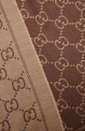 Женский шерстяной шарф GUCCI коричневого цвета, арт. 133483/3G200   Фото 2