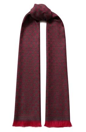 Женский шерстяной шарф GUCCI бордового цвета, арт. 411115/3G200   Фото 1 (Материал: Шерсть; Статус проверки: Проверена категория)