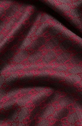 Женский шерстяной шарф GUCCI бордового цвета, арт. 411115/3G200   Фото 2 (Материал: Шерсть; Статус проверки: Проверена категория)