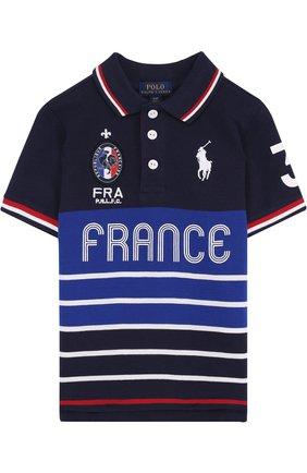 Хлопковое поло с логотипом сборной Франции | Фото №1
