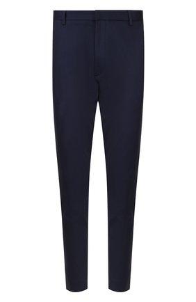 Хлопковые брюки прямого кроя с манжетами на молнии HUGO темно-синие   Фото №1