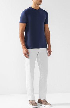 Мужская хлопковая футболка с круглым вырезом ISAIA темно-синего цвета, арт. MC0154/JP001 | Фото 2