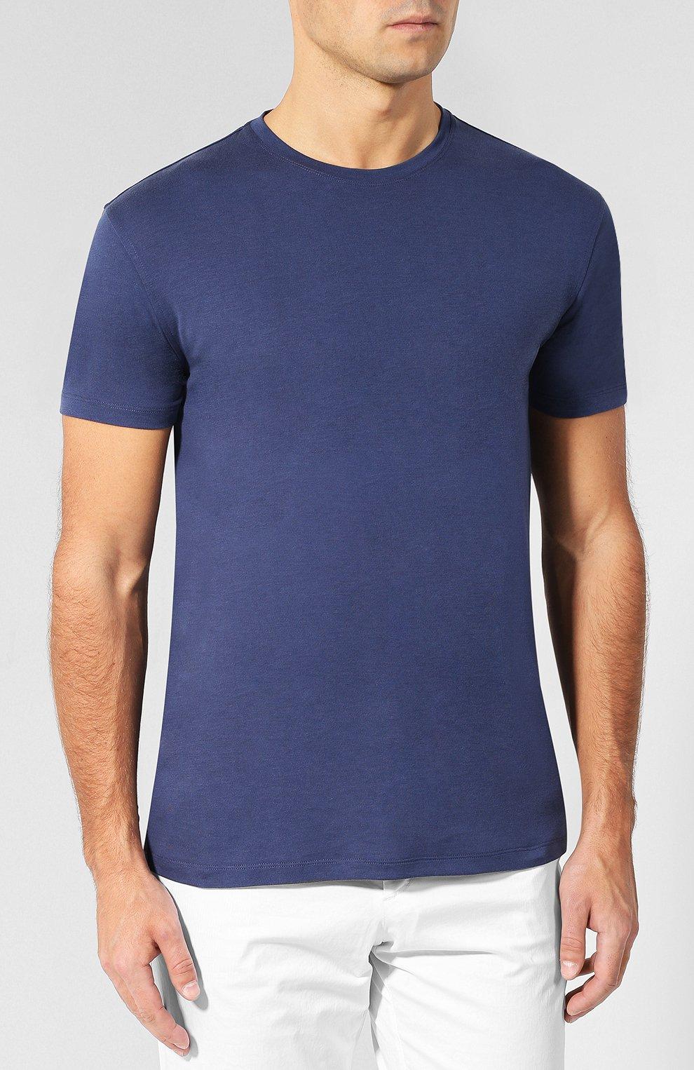 Хлопковая футболка с круглым вырезом Isaia темно-синяя   Фото №3