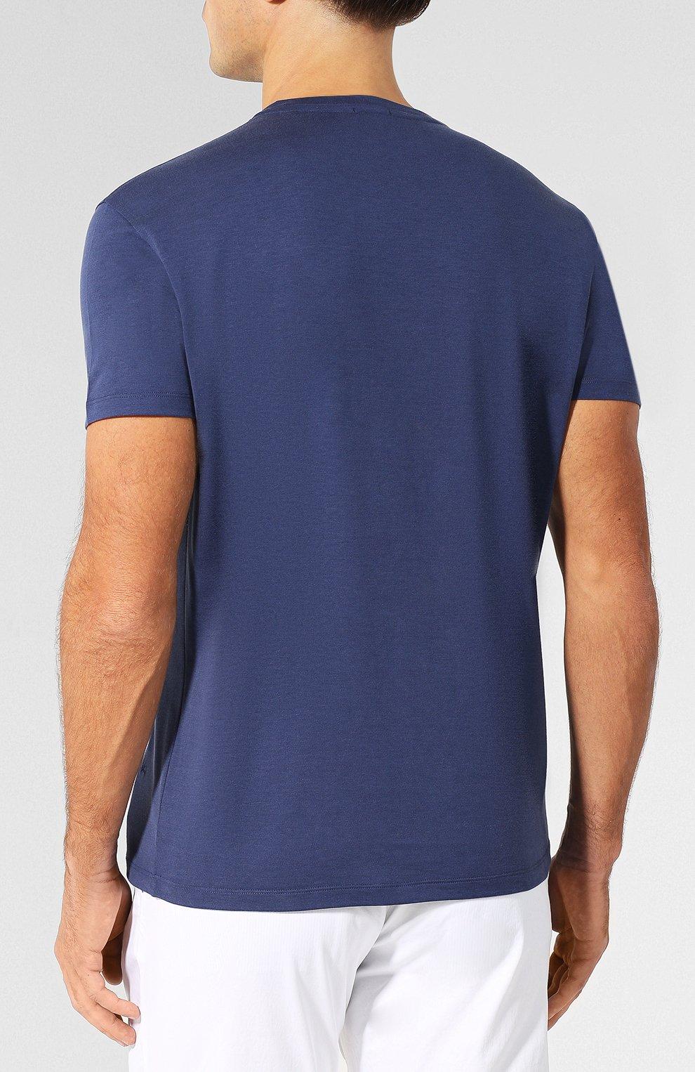 Хлопковая футболка с круглым вырезом Isaia темно-синяя   Фото №4
