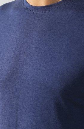 Хлопковая футболка с круглым вырезом Isaia темно-синяя   Фото №5
