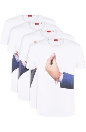 Комплект из четырех хлопковых футболок с принтом | Фото №1
