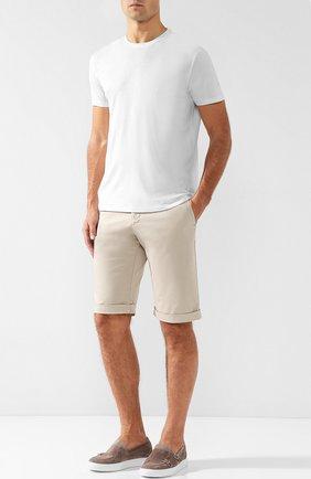Мужская хлопковая футболка с круглым вырезом ISAIA белого цвета, арт. MC0154/JP001 | Фото 2