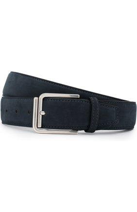 Мужской кожаный ремень KITON темно-синего цвета, арт. USCSQUN00019 | Фото 1