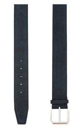 Мужской кожаный ремень KITON темно-синего цвета, арт. USCSQUN00019 | Фото 2