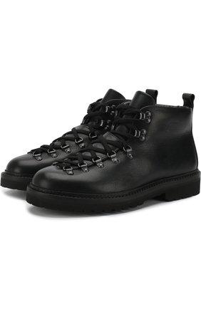 Кожаные ботинки на шнуровке с внутренней меховой отделкой M120 | Фото №1