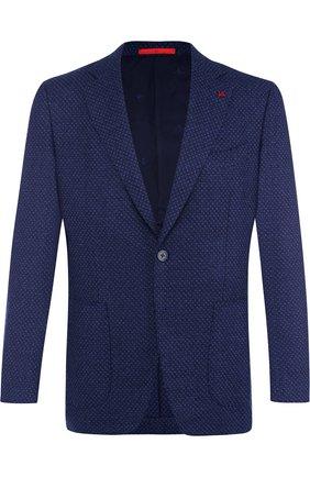 Однобортный пиджак из смеси шерсти и кашемира с шелком Isaia синий | Фото №1