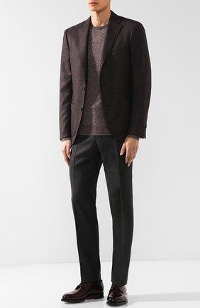 Джемпер из смеси кашемира и шелка Isaia светло-коричневый | Фото №1