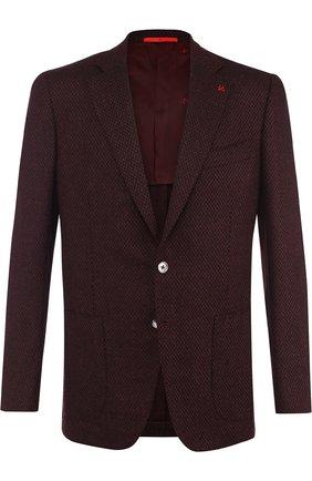 Шерстяной однобортный пиджак Isaia бордовый | Фото №1