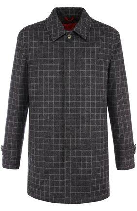 Однобортное пальто из смеси шерсти и кашемира Isaia темно-серого цвета | Фото №1