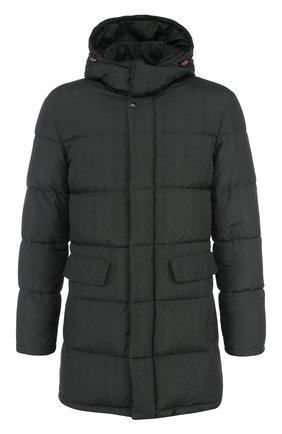 Стеганая куртка на молнии с капюшоном Isaia хаки | Фото №1