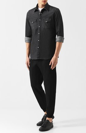 Хлопковая рубашка на кнопках Eleventy UOMO черная   Фото №1