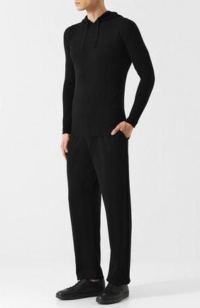 Шерстяной свитер с капюшоном John Smedley черный | Фото №1