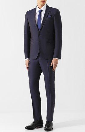 Шерстяной костюм с пиджаком на двух пуговицах Sand темно-синий | Фото №1