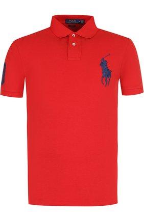 Мужское хлопковое поло  POLO RALPH LAUREN красного цвета, арт. 710688970 | Фото 1