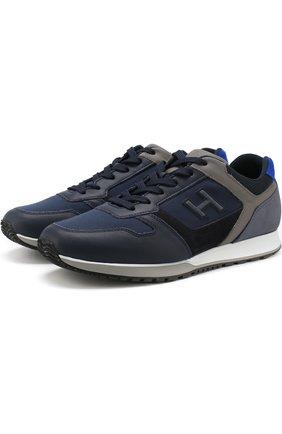 Комбинированные кроссовки на шнуровке Hogan темно-синие | Фото №1