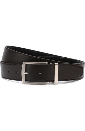 Мужской кожаный ремень с металлической пряжкой GIORGIO ARMANI черного цвета, арт. Y2S221/YJA8E   Фото 1