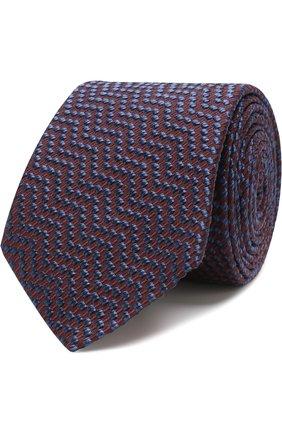 Мужской галстук с узором из смеси шелка и хлопка GIORGIO ARMANI красного цвета, арт. 360054/8A931 | Фото 1
