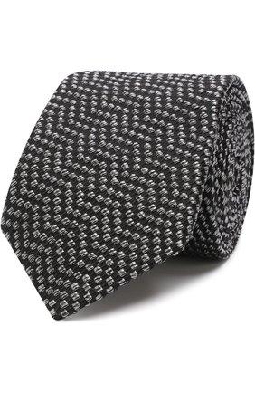 Мужской галстук с узором из смеси шелка и хлопка GIORGIO ARMANI черного цвета, арт. 360054/8A931   Фото 1
