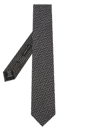 Мужской галстук с узором из смеси шелка и хлопка GIORGIO ARMANI черного цвета, арт. 360054/8A931   Фото 2