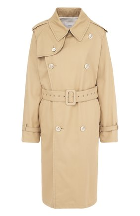 Однотонное хлопковое пальто с поясом | Фото №1