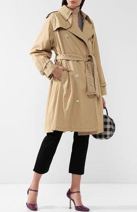 Однотонное хлопковое пальто с поясом Casasola бежевого цвета | Фото №1