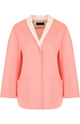 Пальто из смеси шерсти и кашемира с накладными карманами Escada розового цвета   Фото №1