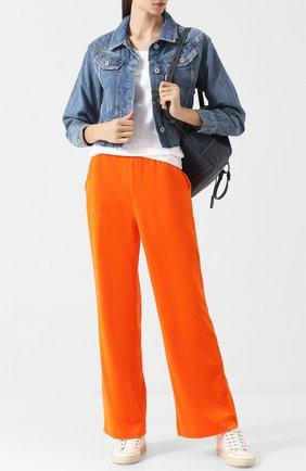 Хлопковые брюки прямого кроя с эластичным поясом Escada Sport оранжевые | Фото №1