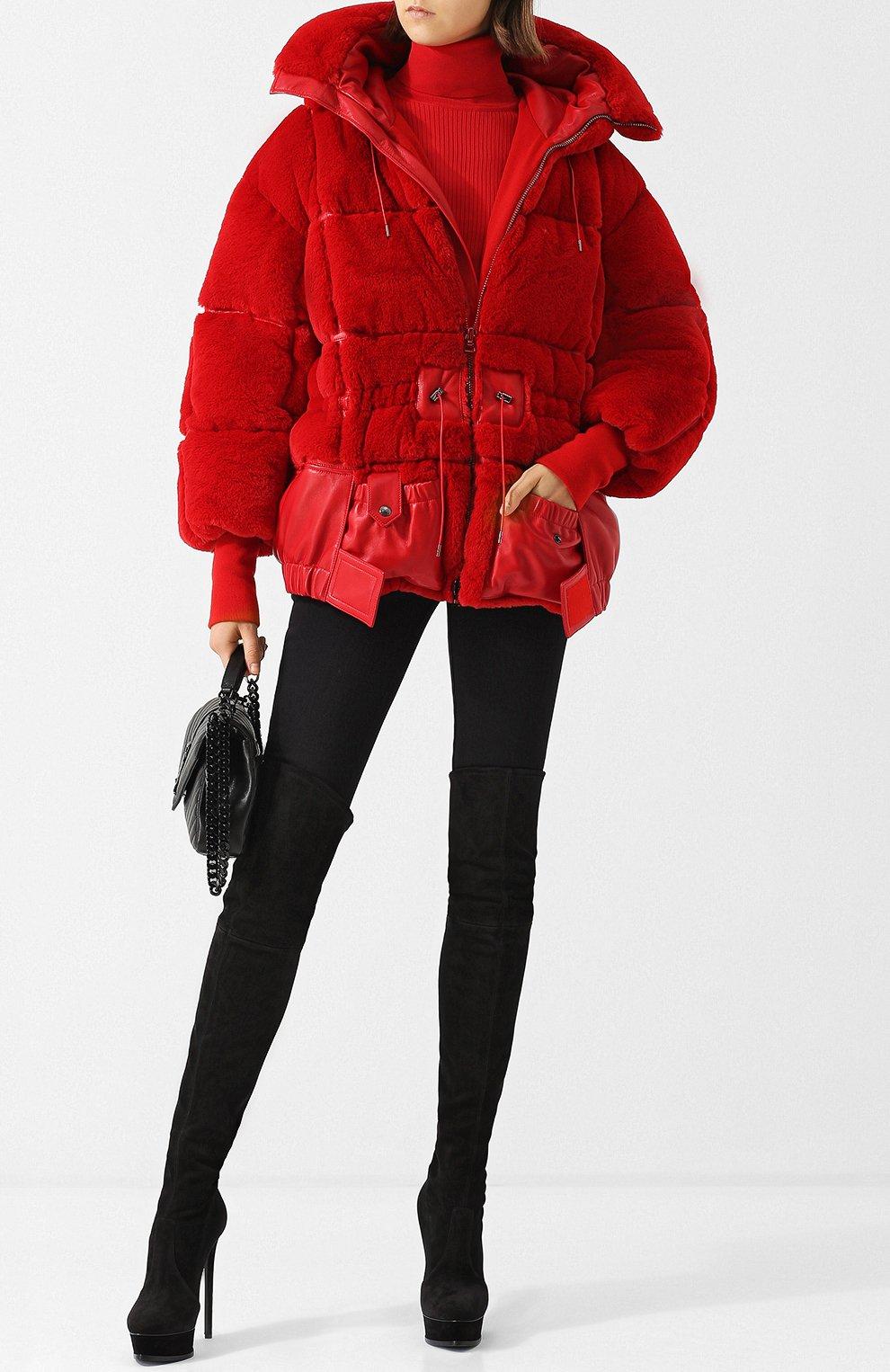Стеганый пуховик с капюшоном и кожаной отделкой Tom Ford красная | Фото №2