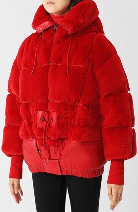 Стеганый пуховик с капюшоном и кожаной отделкой Tom Ford красная | Фото №3