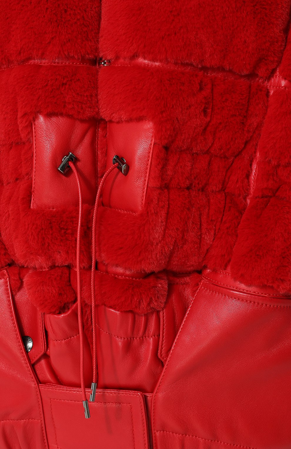 Стеганый пуховик с капюшоном и кожаной отделкой Tom Ford красная | Фото №5
