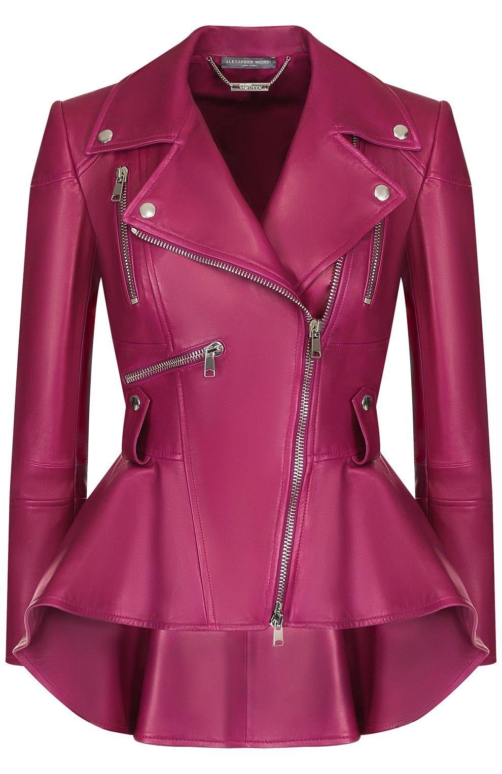 Приталенная кожаная куртка с удлиненной спинкой | Фото №1
